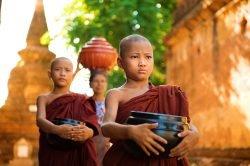 Jeunes moines portant des vases