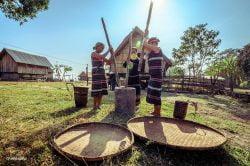 3 femmes travaillant autour d'un mortier à Buon Me Thuot