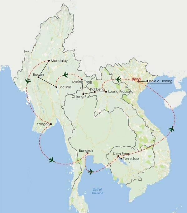 Circuit Thailande Birmanie Cambodge Laos Vietnam 27 jours