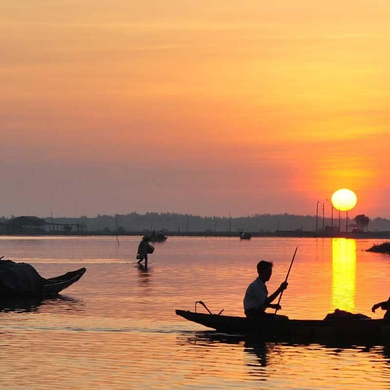 couché de soleil sur le Mékong Vietnam
