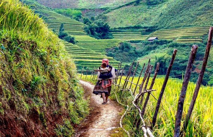 Sapa, Vietnam, femme Hmong portant un bébé