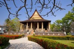 Temple et jardin coloré à Vientiane