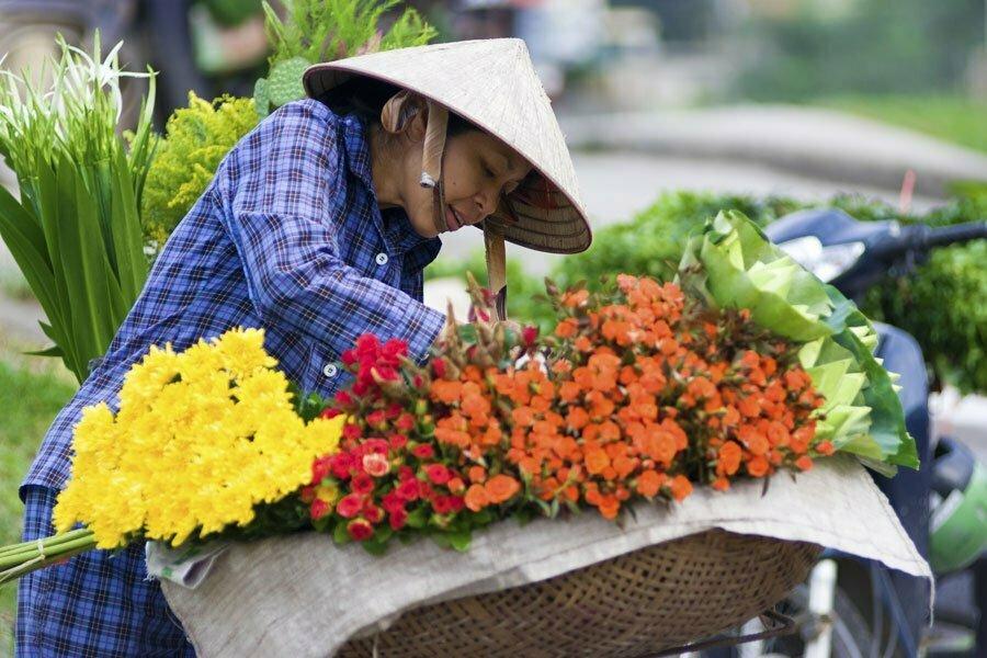 Vendeuse de fleurs à Hanoi