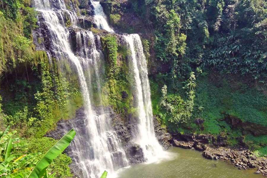 Cascade géante et nature verdoyante