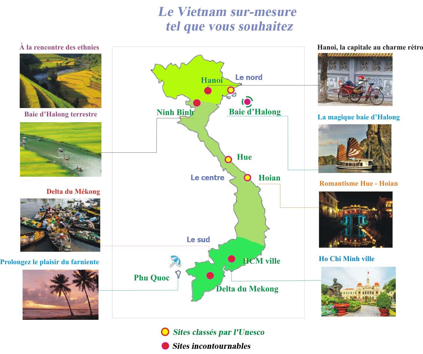 Carte simplifiée du Vietnam avec les Incontournables