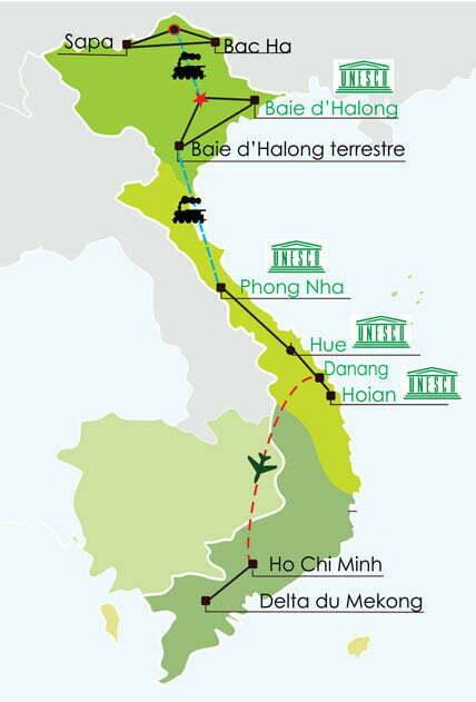 Circuit Vietnam 3 semaines - Zoom vert sur les 3 principales régions