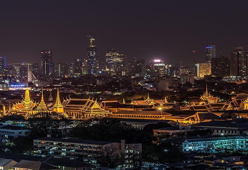grand palais de nuit à Bangkok Thailande